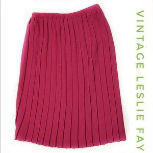 VINTAGE LESLIE FAY Womens Fuchsia Pleat Skirt 14
